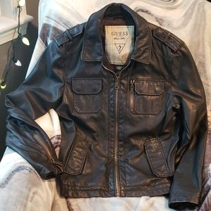 Guess dark brown leather zip jacket size large